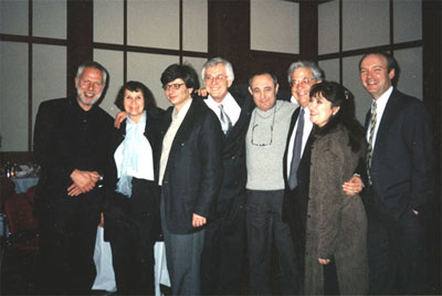 After the premiere of Postludio VIII. Allice Tully Hall, Lincoln Center, New York, 02.02.2003. Left to right: Vladimir Feltzman, Sofia Gubaidulina, V.Kissin, Oleg Krysa, FK, D.Shifrin, A.Kavafian, G.Hoffman.